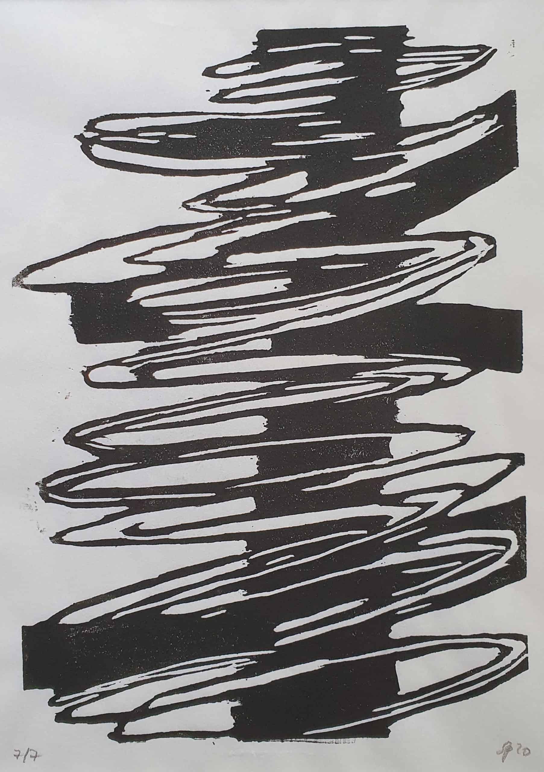 Holzschnitt in Schwarz-Weiß