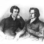 Jacob und Wilhelm Grimm, gezeichnet von Ludwig Grimm