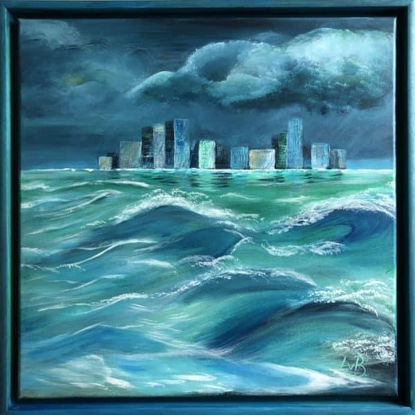 Lisa van Bonn: Stadt im Meer IV. Acrylgemälde