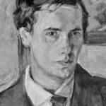 Reinhold Ewald, Selbstportrait Oel auf Karton